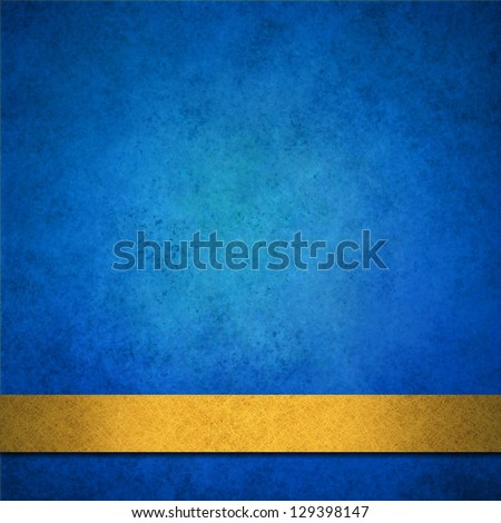 abstract blue background gold ribbon or distressed brochure background, anniversary, baby boy announcement, elegant background blue paper with vintage grunge background texture, sapphire blue wall - stock photo