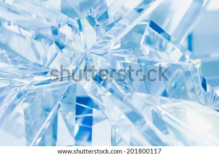abstract blue background of crystal refractions  - stock photo