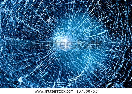 abstract blue background shattered glass - stock photo