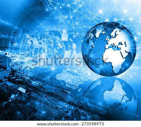 Abstract blue background. Technology background, from series best concept of global business. Elements of this image furnished by NASA. - stock photo