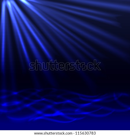 Abstract blue background. Underwater. Raster version of the loaded vector. - stock photo
