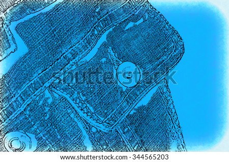 Abstract blue background with image of pocket jeans jacket - stock photo