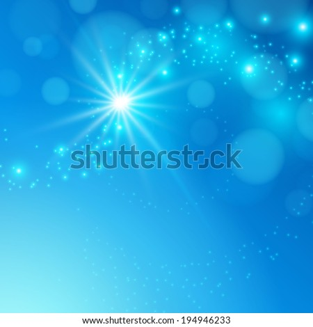 Abstract blue background with star burst. Raster illustration - stock photo