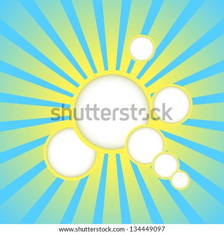 Abstract blue background with sun rays and place for text. Raster version. - stock photo