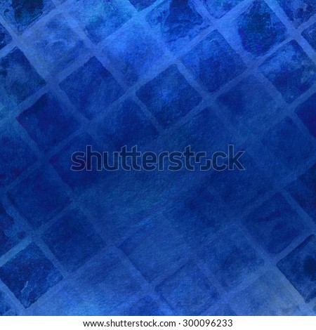 abstract blue background with watercolor textured diamond shapes and line pattern, cool blue painted background design with diagonal slanted lines - stock photo