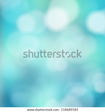 Abstract blue bokeh winter background - stock photo