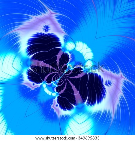 Abstract blue butterfly fractal. Crazy line art. Visual effect idea. Made in full frame. Unusual odd images. Imagery in blue color tone. Strange curve shapes. Pic colored in bright colors. Graphics. - stock photo
