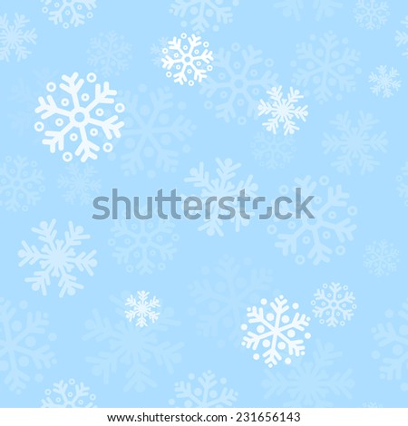 Abstract blue christmas seamless pattern background with snowflakes - stock photo