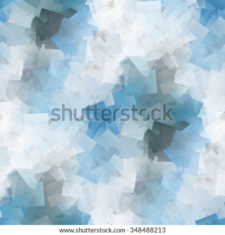 Abstract blue cubism illustration with white background - stock photo