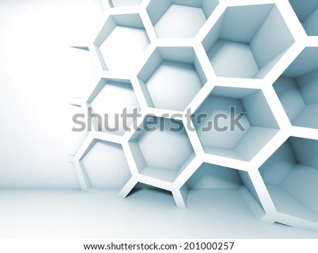 Abstract blue 3d interior with honeycomb on the wall - stock photo