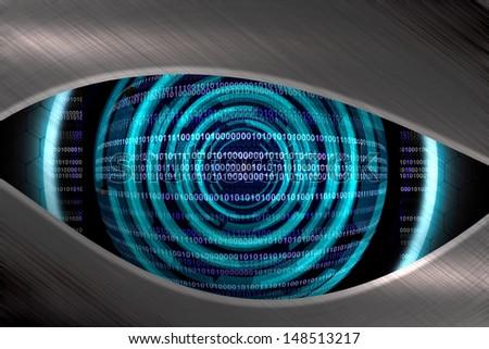 Abstract blue eye robot - stock photo