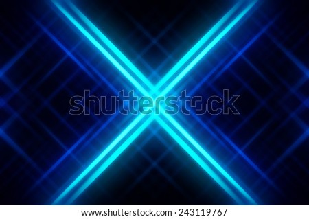 Abstract blue fractal background with various color lines and strips - stock photo