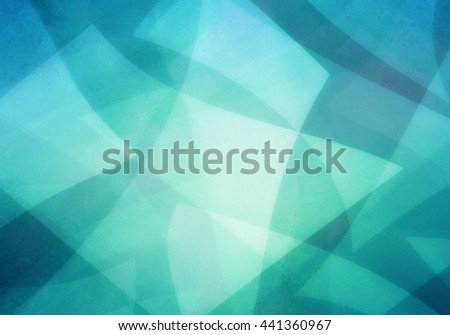 abstract blue green background, random textured rectangles squares and triangle shapes in geometric pattern of angles and layers, teal background color - stock photo