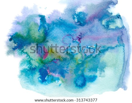 Abstract blue ink background on paper - stock photo