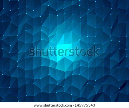 abstract blue lowpoly background - stock photo