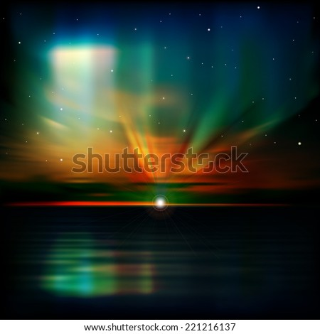 abstract blue nature background with clouds aurora borealis and sea sunrise - stock photo
