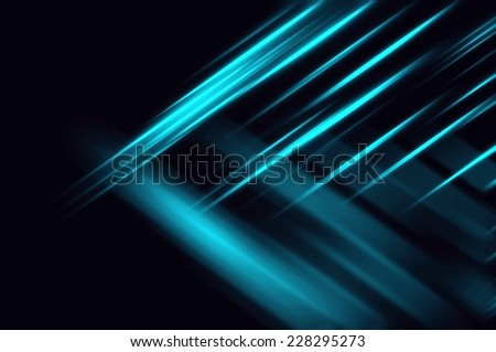 Abstract blue neon fractal background with various color lines and strips - stock photo