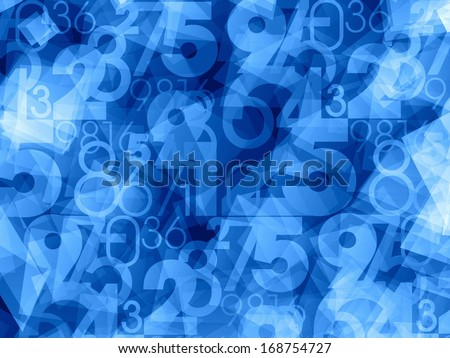 Abstract blue numbers background - stock photo