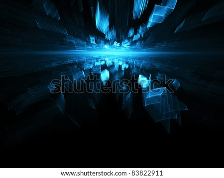 Abstract blue on black digital background element - stock photo