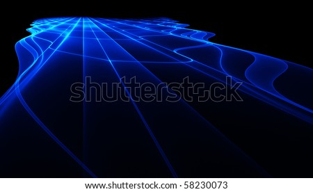 Abstract blue perspective fractal surface - stock photo