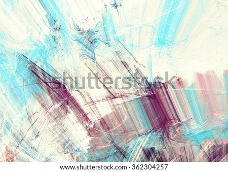 Abstract blue, pink and white color motion composition. Modern bright futuristic painting background with lighting effect. Shiny dynamic pattern. Fractal art for creative graphic design - stock photo