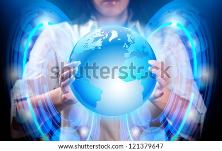 Abstract, blue planet earth in hands of girl. - stock photo
