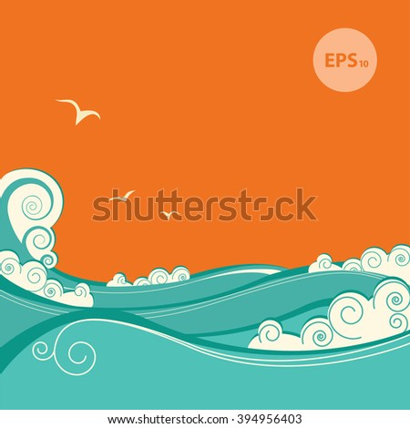Abstract blue sea waves. Color illustration of sea landscape.Raster - stock photo