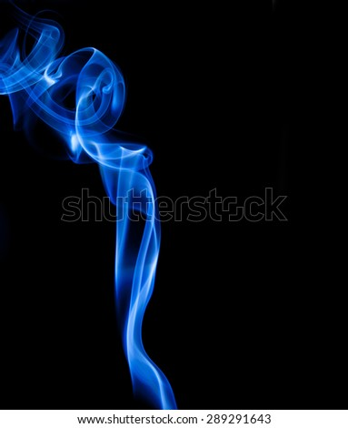 Abstract blue smoke isolated on black - stock photo