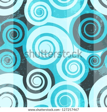 Abstract blue spiral seamless (raster version) - stock photo