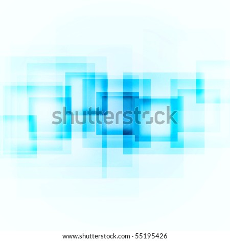 abstract blue squares on a white background - stock photo