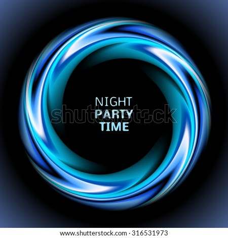 Abstract blue swirl circle on black background.  illustration for you modern design. Round frame or banner with place for text. Night party time. - stock photo