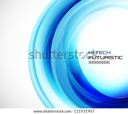 Abstract blue techno swirl background. Raster version of my vector illustration - stock photo
