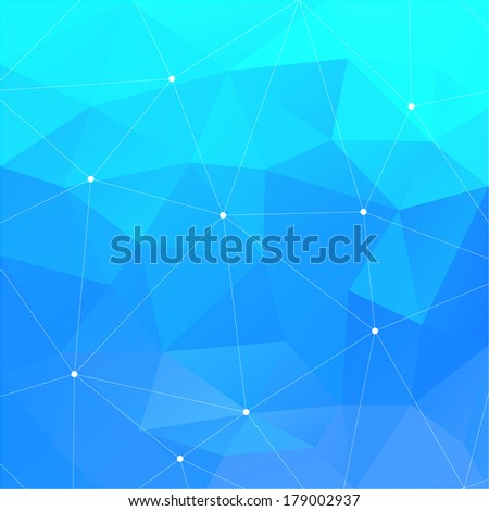 Abstract Blue Triangle Geometrical Background - raster version - stock photo