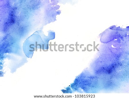 Abstract blue watercolor background - stock photo