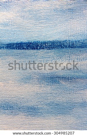 Abstract Blue Watercolor on Canvas 7 - stock photo
