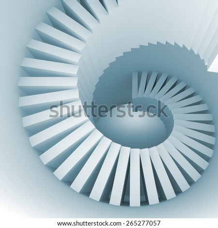Abstract blue white spiral interior perspective with stairs. 3d illustration - stock photo