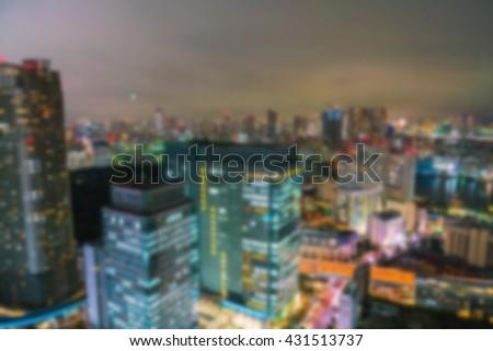 Abstract blur Aerial view bokeh lights, Tokyo city, Japan - stock photo