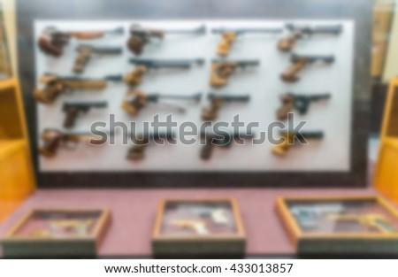 Abstract blur antique Handguns Collection - stock photo