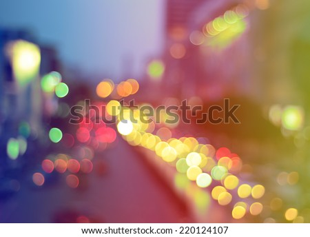 Abstract blur bokeh background of Christmas light on bright colors style. - stock photo