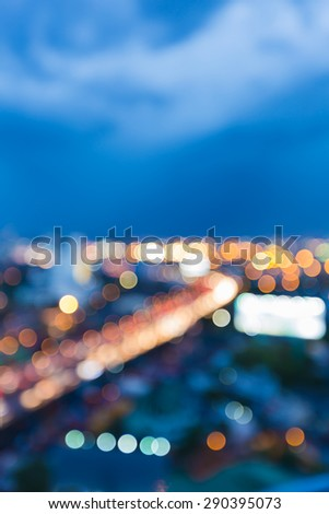 Abstract blur bokeh city highway light during twilight - stock photo