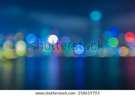 Abstract blur image of Hongkong city with circle bokeh - stock photo