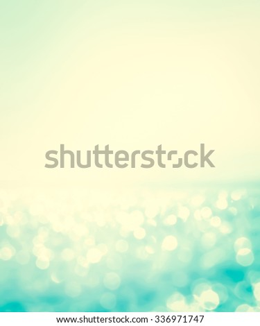 abstract blur light on  sea and ocean background for summer season with retro color tone - stock photo
