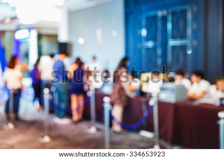 Abstract blur people registering before meeting begin, registration que - stock photo