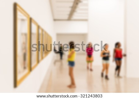 Abstract Blur Photo Of Art Gallery Interior - stock photo
