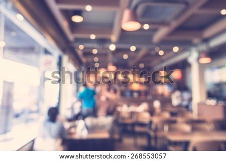 Abstract blur restaurant background - vintage filter - stock photo