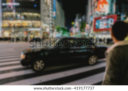 Abstract blur Shibuya for background - stock photo