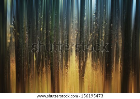 abstract blurred autumn forest - stock photo