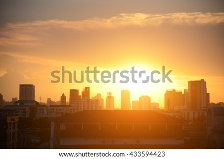 abstract blurred backgrounds sunset light in the City - stock photo