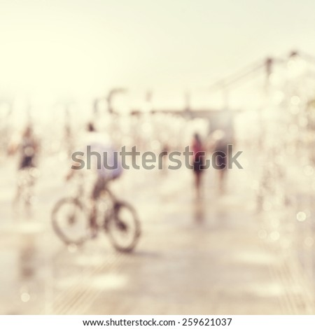 Abstract blurred image of city street scene. - stock photo