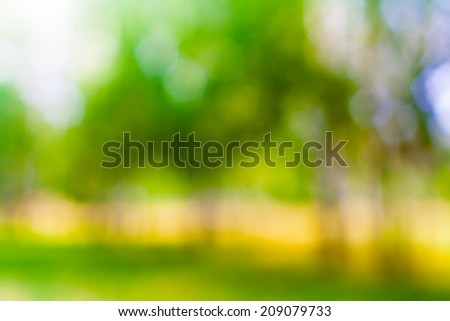 Abstract Blurred Nature Background, Park Trees in Bokeh - stock photo